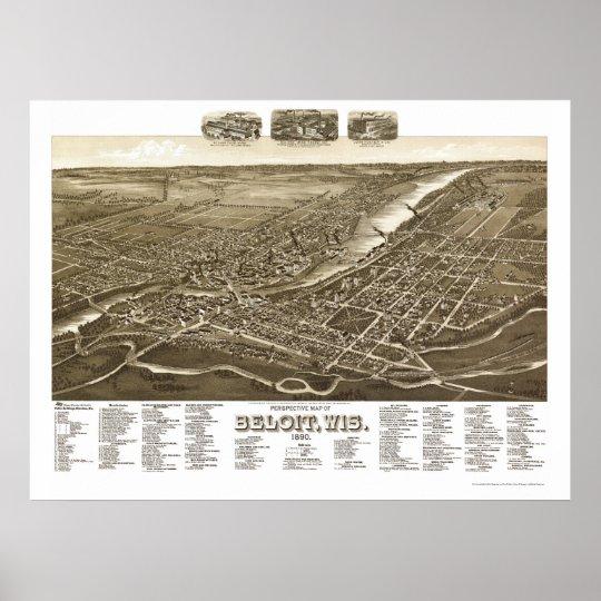 Beloit, WI Panoramic Map - 1890 Poster