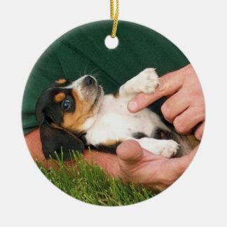 Beloved Beagle Puppy Round Ceramic Decoration