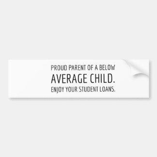Below Average Child Bumper Sticker