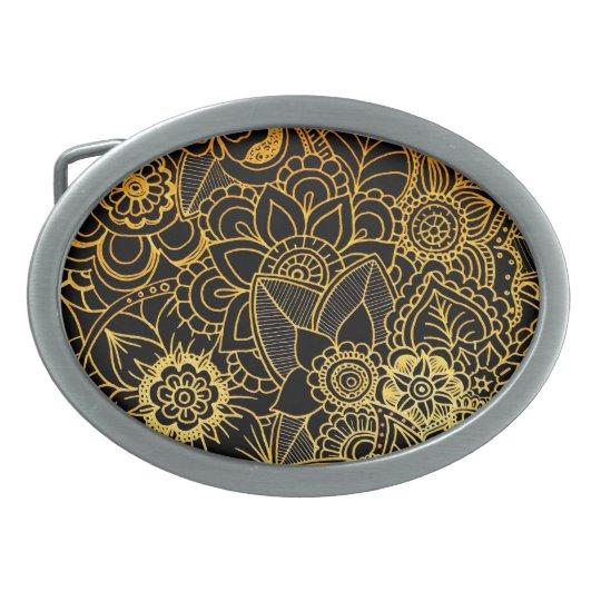 Belt Buckle Floral Doodle Gold G523