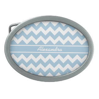 Belt Buckle  to Personalise, Blue, White Chevrons