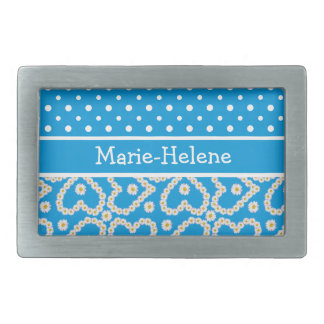 Belt Buckle to Personalize: Polkas, Daisies, Blue