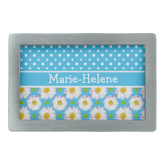 Belt Buckle to Personalize: Polkas, Daisies: Blue