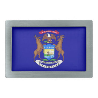 Belt Buckle with Flag of Michigan State