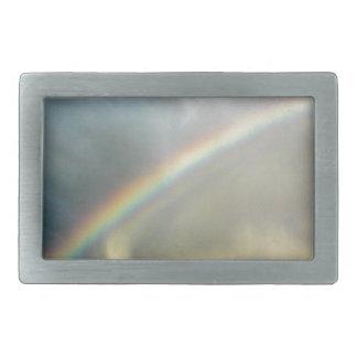 belt buckle with photo of pretty rainbow