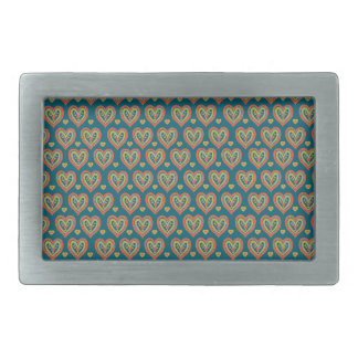 Belt Buckle, with Red, Green Hearts on Dark Teal Belt Buckle