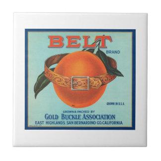 Belt Gold Buckle Association Vintage Crate Label Small Square Tile
