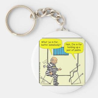 Belt in jail cartoon key chains