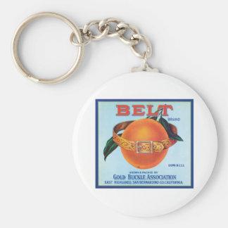Belt Orange Vintage Label Key Chains