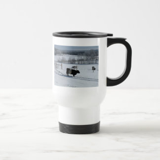 Belted Galloway Cow in a Snowy Landscape Travel Mug