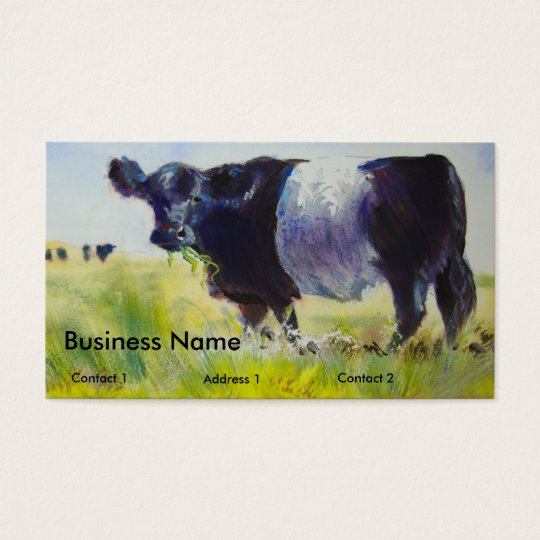 Belted Galloway Cows Painting Business Cards
