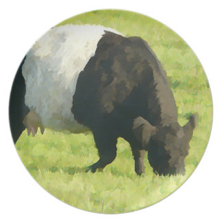 Belted Galloway on Green Pasture - Painted Style Plate