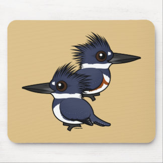 Belted Kingfisher pair Mouse Mat