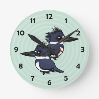Belted Kingfisher pair Round Clock