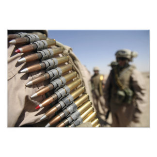 Belts of 50-caliber ammunition photo print