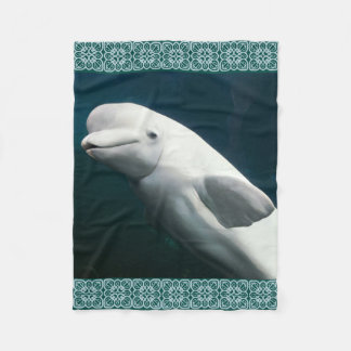 Beluga Whale Painting Fleece Blanket