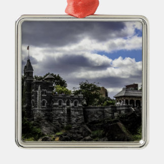 Belvedere Castle in Central Park, New York Silver-Colored Square Decoration