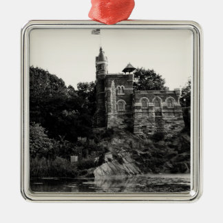 Belvedere Castle in Central Park, NYC Silver-Colored Square Decoration