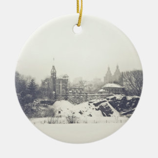 Belvedere Castle in the Winter in Central Park Christmas Ornament