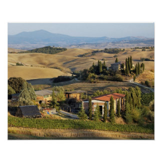 Belvedere House at sunset San Quirico d Orcia Posters