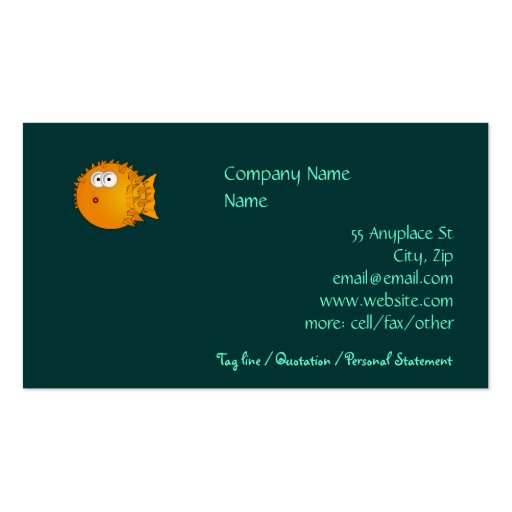 Bemused Puffer Fish Business Cards