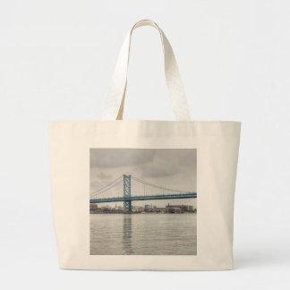 Ben Franklin Bridge Large Tote Bag