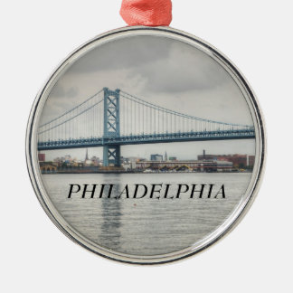 Ben Franklin Bridge Silver-Colored Round Decoration