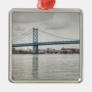 Ben Franklin Bridge Silver-Colored Square Decoration