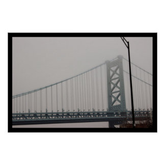 Ben Franklin Bridge Under Fog Poster