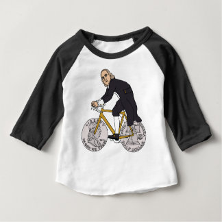 Ben Franklin On A Bike With Half Dollar Wheels Baby T-Shirt