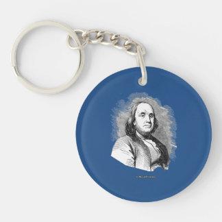 Ben Franklin Portrait Single-Sided Round Acrylic Keychain