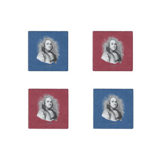 Ben Franklin Portrait Stone Magnet