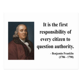 Ben Franklin Quote 3b Postcard