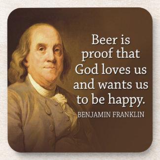 Ben Franklin Quote on Beer Beverage Coasters