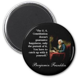 "Ben Franklin Quote ""The U. S. Constitution..."" 6 Cm Round Magnet"