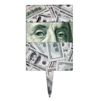 Ben Franklin's Eyes on $100 Bills Money Spread Rectangular Cake Picks