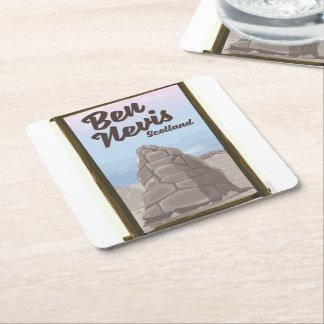 Ben Nevis Scotland travel poster Square Paper Coaster