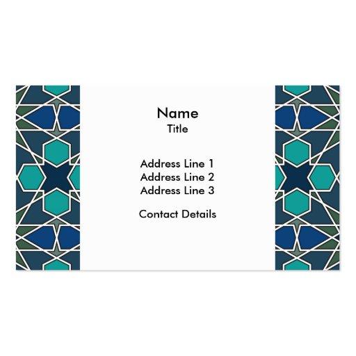 Ben Yusuf Madrasa Geometric Pattern 0-0-7 Business Card Template