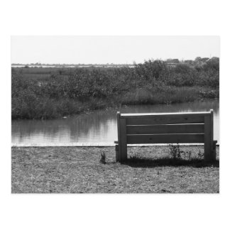 Bench by river black and white picture postcard