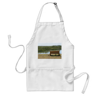 Bench by river with grass and water aprons