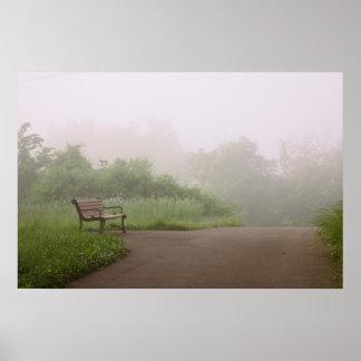 Bench in Fog Poster