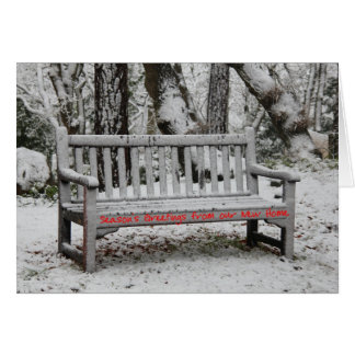 Bench in snow change of address card