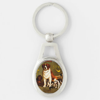Bench Show. New England Kennel Club Silver-Colored Oval Key Ring