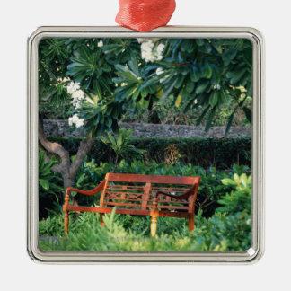 Bench Silver-Colored Square Decoration