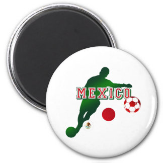 Bend it like a Mexican Mexico flag soccer player 6 Cm Round Magnet