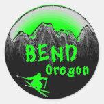 Bend Oregon artistic skier Round Stickers