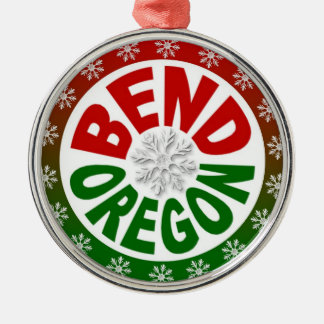Bend Oregon red green snowflake ornament