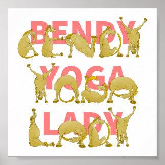 Bendy Yoga Lady Funny Cute Pony Poster