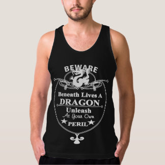 Beneath Lives A Dragon Funny Typography Graphic Tank Top