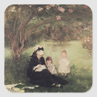 Beneath the Lilac at Maurecourt, 1874 Square Sticker